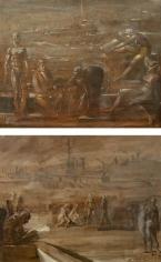 Reginald Marsh, Untitled Port Scene (Recto), Untitled Nudes on, on Port (Verso),1952 (recto), 1953 (verso), oil on panel, 16 x 20 (both sides)