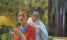 Xenia Hausner, China Club II, 2018, oil on Dibond, 53 x 89 3/8 inches