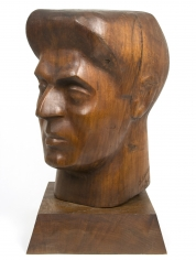 Chaim Gross, Self-Portrait (Bust), 1934, carved wood, 17 1/2 x 13 x 10 inches, base: 11 1/2 x 11 1/2 x 3 1/2 inches