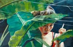 Xenia Hausner, Indigo Yao, 2013, oil on Dibond, 34 1/2 x 52 3/4 inches