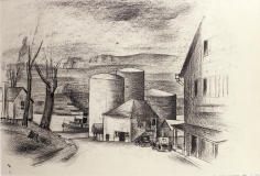 Konrad Cramer, Silos, c. 1932, black crayon, pen and India ink on paper, 12 1/2 x 19 inches