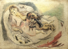 Jules Pascin, Maternité, 1916, oil, pen and black ink on canvas, 9 3/4 x 13 3/4 inches