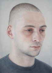 Robert Bauer, Adam, 2018, oil on paper mounted on board, 7 1/2 x 5 3/8 inches
