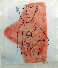 Ben Shahn, Study for Triple Dip, 3 Flavors (SOLD), 1951, Black china ink on paper, 5 1/2 x 7 3/4 inches