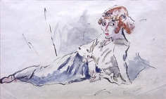 Jules Pascin, Hermine Allongée, 1915, watercolor on paper, 8 x 12 1/2 inches