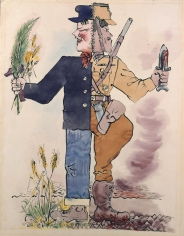 George Grosz, Standing Figure (image of war and peace) (SOLD), 1935, watercolor, pen and India ink on paper, 23 1/2 x 18 inches