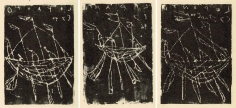 Cy Twombly, Lepanto I, II, and II, 1996, A set of three monoprints printed from cardboard on Japan paper
