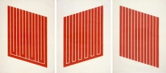 Donald Judd, Untitled, 1961-69, complete set of seven woodcuts in cadmium red