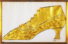 Andy Warhol, Large Gold Shoe, 1957, Ink, gold leaf, and gold collage on paper