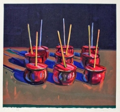 Wayne Thiebaud, Candy Apples, 1987, Woodcut