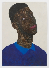 Amoako Boafo, Blue on Blue, 2019, Oil on paper