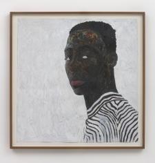 Amoako Boafo, Boy in a Black and White Stripe Shirt, 2018
