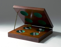 Four Approximate Objects,1970-91mahogany, formica, brass, chrome-platedbrass and flocking3 1/2 x 14 1/2 x 13 1/2 in. / 8.9 x 36.8 x 34.3 cmEdition of 30
