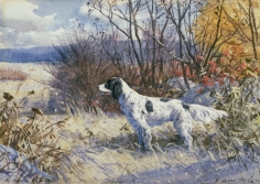 """Sold painting by Aiden Lassell Ripley entitled """"Mr. DuMont's Dog""""."""