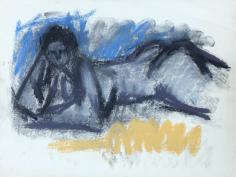 Untitled 1963 nude pastel by Hans Burkhardt.