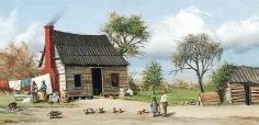 "Sold archive painting by William Aiken Walker ""Cabin Scene""."