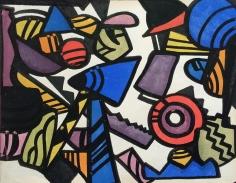 Jay Van Everen watercolor of synchromist abstraction.