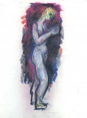 Untitled nude pastel by Hans Burkhardt.