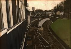 Frederik Ottesen 1956 painting of train tracks outside Paris.