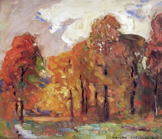 Vaclav Vytlacil oil painting of a fall landscape.