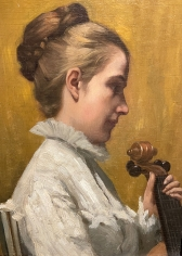 """Close-up of """"A Musician"""" by Frederick E. Wright."""