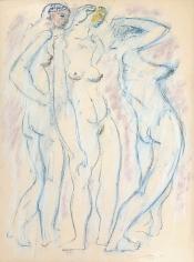 Untitled 1974 pastel of three nude women by Hans Burkhardt.