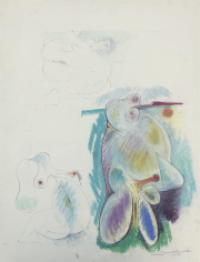 Untitled 1973 nude and abstract pastel by Hans Burkhardt.