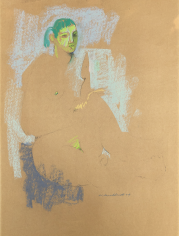 Untitled 1959 pastel of seated nude by Hans Burkhardt.