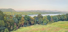 "Tom Yost painting ""The Hudson from Vanderbilt Mansion""."