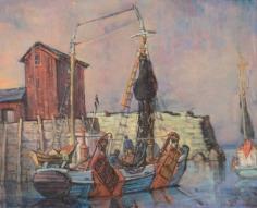 Philip Reisman oil painting of sheltered harbor.