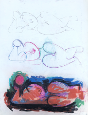 Untitled pastel nude by Hans Burkhardt.