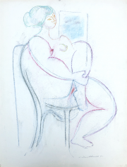Untitled 1970 pastel of seated nude by Hans Burkhardt.