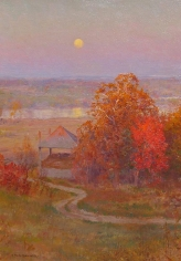 "Oil painting by Walter Launt Palmer entitled ""Autumn Moonrise""."