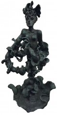 Bronze of Yulla with Elaborate Head Piece by Yulla Lipchitz.