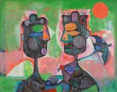 "Byron Browne 1945 painting titled ""Two Women"" from sold archive."