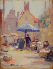 "Ruth Anderson oil painting entitled ""Fish Market, Bruges""."
