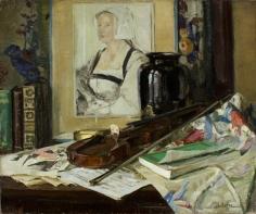 George Oberteiffer oil painting of Tabletop Arrangement.