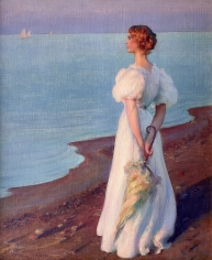 """Charles Courtney Curran oil painting entitled """"On the Shore of Lake Erie""""."""