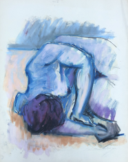 Untitled 1963 pastel of nude lying down by Hans Burkhardt.