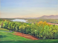 """Tom Yost oil painting """"The Hudson from Olana""""."""