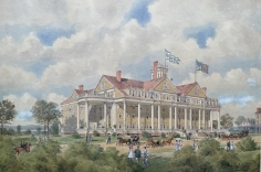 """George Welch watercolor painting entitled """"Hotel Earlington, Richfield Springs, NY""""."""