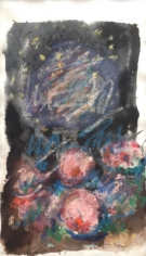 Untitled 1985 mixed media work on paper by Hans Burkhardt.
