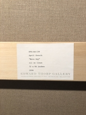 Edward Thorp Gallery label verso on Moon Bay 1996 oil painting by April Gornik.