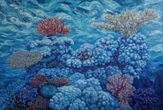 "Nikolina Kovalenko oil painting entitled ""A Good Coral Day."""