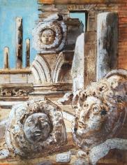 "Eugene Berman watercolor entitled ""Three Medusas""."