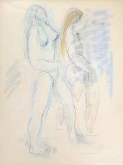 Untitled 1970 Hans Burkhardt pastel of two nude women.