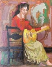 Byron Browne 1958 oil painting of a folk singer.