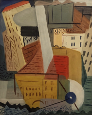 "Vaclav Vytlacil oil painting entitled ""City Harbor, Albany""."