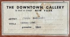 "Downtown Gallery label verso ""Circus GIrl"" by Yasuo Kuniyoshi."
