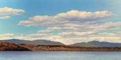 """Tom Yost oil painting """"Catskills from the Hudson""""."""